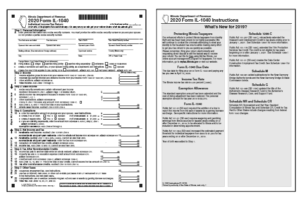 Illinois Tax Forms 2020 Printable State Il 1040 Form And Il 1040 Instructions
