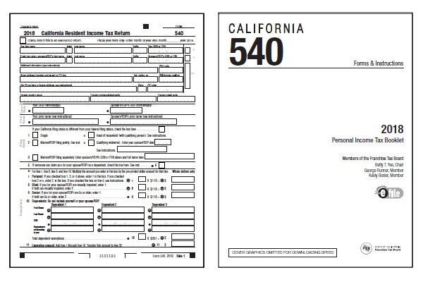 California 2018 CA 540 Form And Instructions