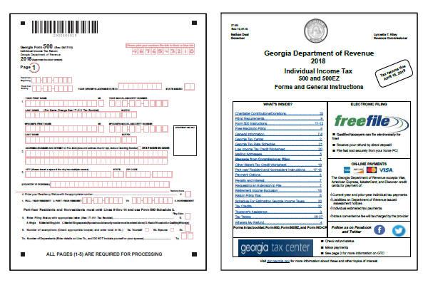 Georgia Tax Forms 2018 Printable State GA 500 And GA 500EZ