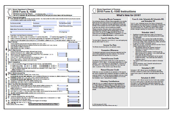 Illinois Tax Forms 2018 Printable State Il 1040 Form And Il 1040