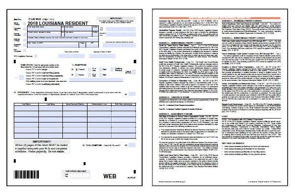 louisiana tax forms 2018 printable louisiana state la it 540 tax