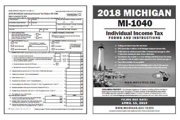 Michigan Tax Forms 2018 Printable State Mi 1040 Form And Mi 1040