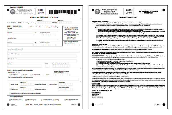New Hampshire 2018 NH DP-10 Form and Instructions
