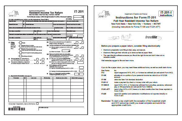 New York Tax Forms 2018 Printable State Nys It 201 Form And Nys It
