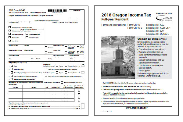 Oregon Tax Forms 2018 Printable State Or 40 Form And Or 40