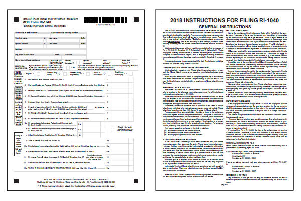 Rhode Island Tax Forms 2018 Printable State Ri 1040 Form And Ri