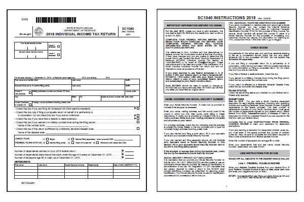 South Carolina Tax Forms 2018 Printable State Sc1040 Form And Sc