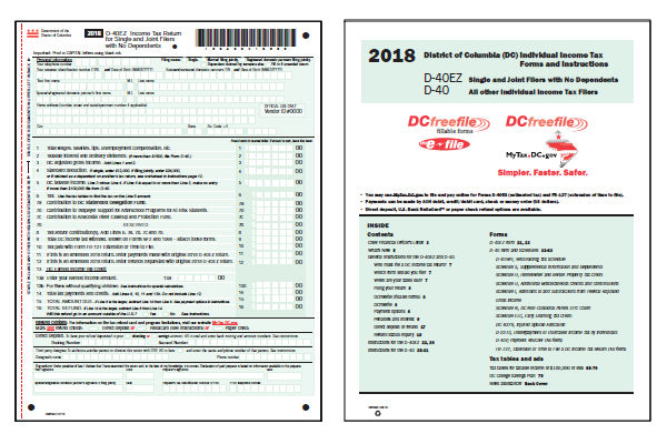 Washington DC Tax Forms 2018 Printable State DC D 40 Form