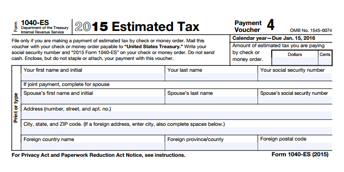1040 Es 2015 Estimated Tax Payment Voucher 4