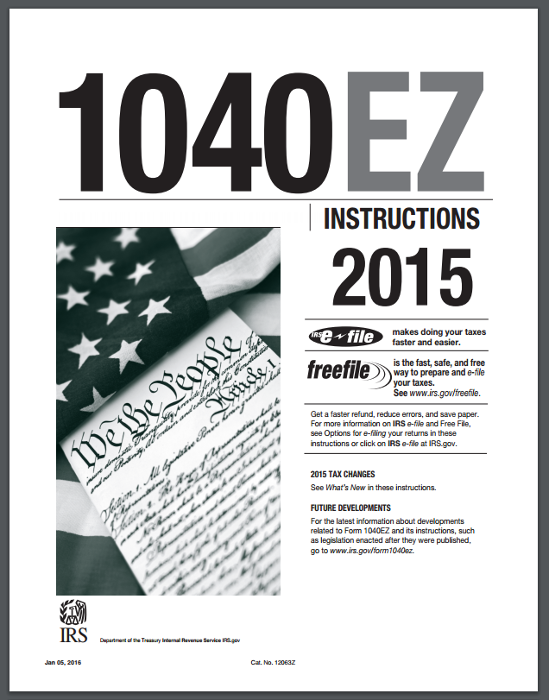 irs 1040ez 2015 1040EZ 2015 Instructions Booklet PDF