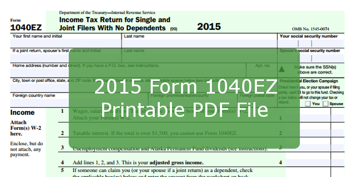 irs 1040ez 2015 2015 Form 1040EZ Printable PDF File And Instructions