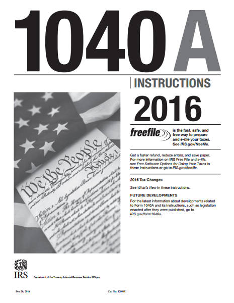 2016 1040A Instructions Booklet