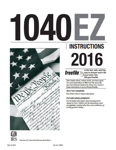 2016 Form 1040ez Instructions Pdf