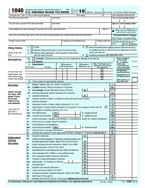 2016 1040 Tax Form Pdf