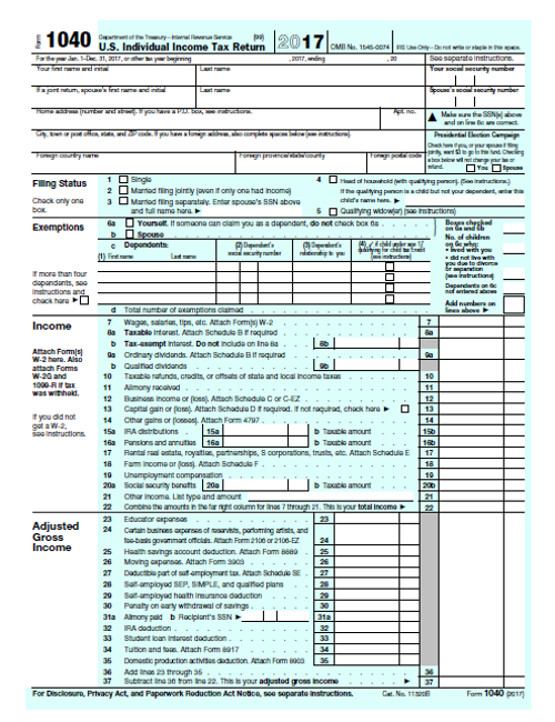 2017-1040-tax-form  X Form Example on amended tax return, completed for deceased taxpayer, filled out decrease amount, change status,