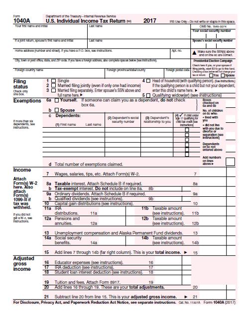 2017 1040A Tax Form PDF