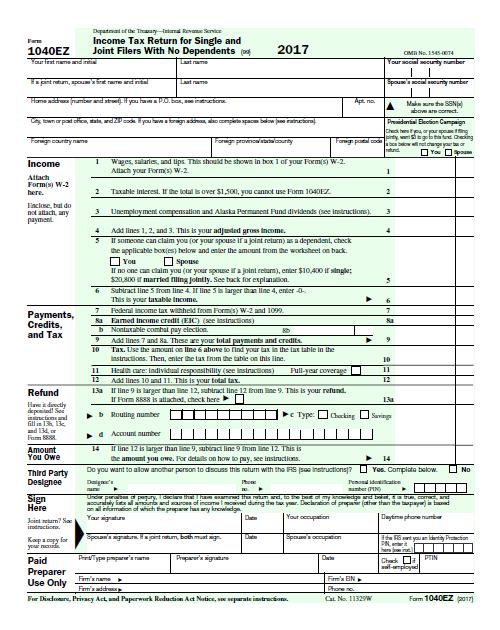 2017 1040EZ Tax Form PDF